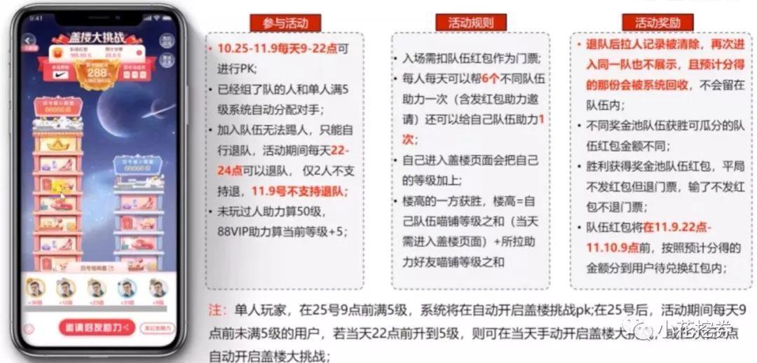 2019年天猫双十一合伙人红包之盖楼大挑战游戏玩法详解!
